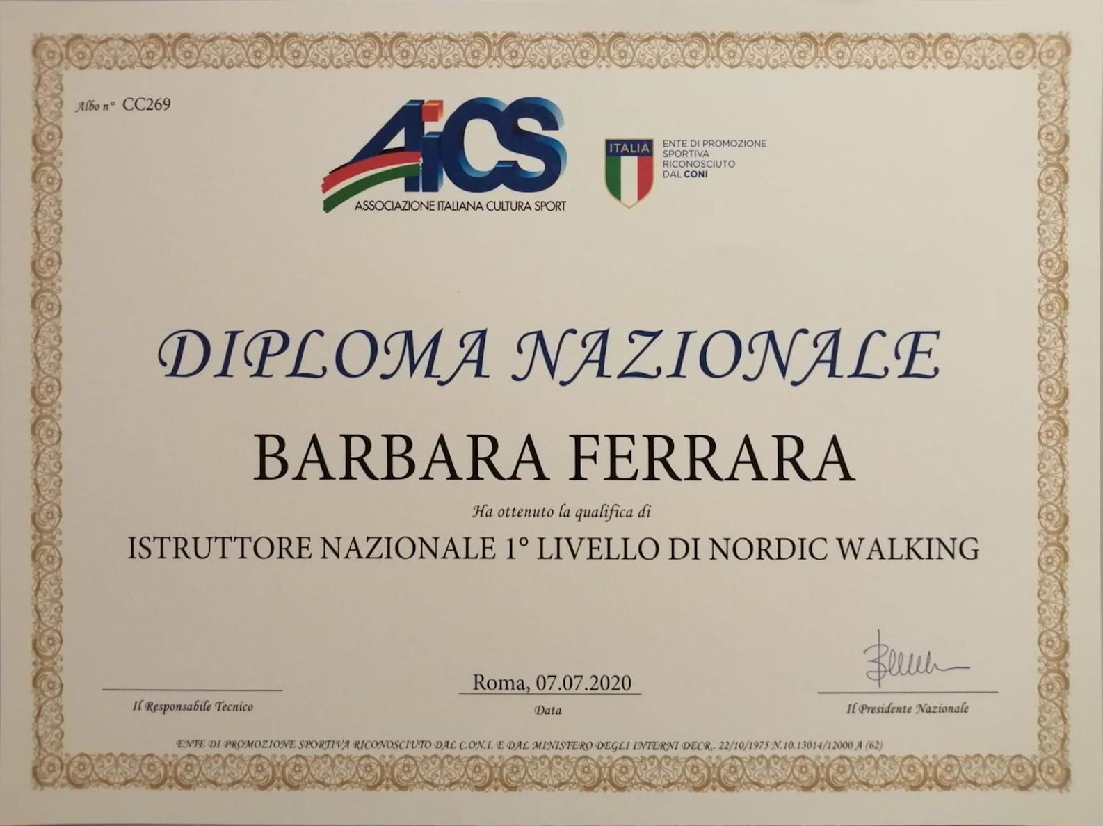 Diploma Istruttore Nordic Walking